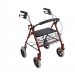 "Durable Red 4 Wheel Rollator with 7.5"" Casters"